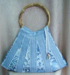 not pattern, but simple idea for swim bag or purse from used denim and print cotton strips!.