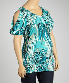 Take a look at this Aqua Abstract Top - Plus by GLAM on #zulily today!