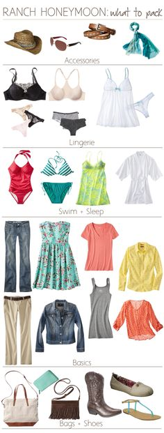 A packing list (for the ladies) of ranch honeymoon essentials.