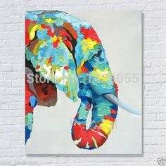 Handcraft animal Oil Painting on Canvas,Elephant on canvas.jpg