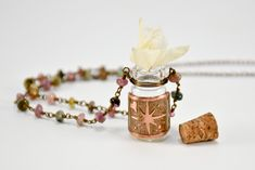 Bottle Necklace- Traveler Bottle- Keepsake Bottle- Compass Necklace- Handmade Necklace- Traveler Jewelry- Compass Rose by Localmotive on Etsy Handmade Necklaces, Handcrafted Jewelry, Bottom Of The Bottle, Compass Necklace, Rose Images, Compass Rose, Bottle Necklace, Tiny Treasures, Tourmaline Gemstone