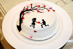 Silhouette Cake - Cake by Bake Fresh by Shruti Happy Anniversary Cakes, Silhouette Cake, Hand Painted Cakes, Valentines Day Wishes, Girl Cakes, Fondant Cakes, Party Cakes, Wedding Designs, Chocolate Cake