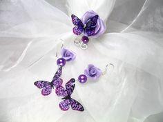 Parure Bague et Boucles d'oreilles argent 925 Fil d'alu rosa pastel avec perles en verre nacrées et roses