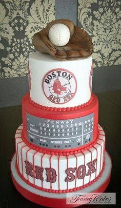 Boston Red Sox groom's cake - Fancy Cakes by Lauren Red Sox Baseball, Baseball Cakes, Baseball Grooms Cake, Baseball Food, Red Sox Cake, Red Sox World Series, Sport Cakes, Baseball Birthday, Boston Red Sox