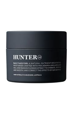 Hunter Lab Daily Face Fuel The super natural daily facial moisturiser crafted with Macrobiotic Mea Minerals, and Avocado, Macadamia and Passionfruit Seed Oils to smooth, nourish without irritation and help tackle and correct skin-ageing free radicals. Also includes Passion Flower and Wakame Extracts to intensely hydrate and rejuvenate skin