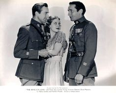 David Manners, Loretta Young and Victor Jory in a publicity still from The Devil's in Love, 1933, Fox Pictures. Directed by William Dieterle.