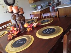 """""""Message""""chargers for Thanksgiving. I painted the middle of each charger with chalk paint...I will use these all month to tell my family messages of love and thanks!"""