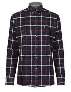 Navy 2in Longer Pure Cotton Thermal Checked Twill Shirt