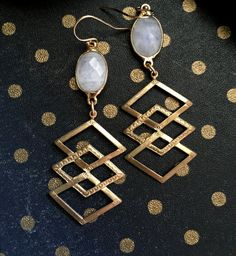 Moonstone EarringsMoonstone Gold by OneTribeJewelry on Etsy