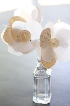 Vellum & book page flowers by ShineyMonkeyButtons on etsy