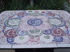 Custom Made Broken China Mosaic Drop Leaf Table