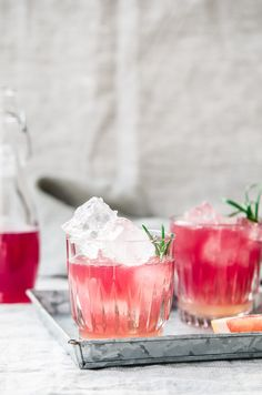 A splash of lemon syrup cooked with rosemary and topped off with a local raspberry kombucha. Throw in a couple of ice cubes in there for the perfect drink!