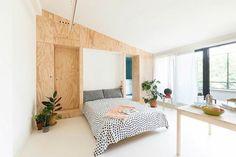 Déco intérieur appartement moderne petit espace à Milan #Plywood