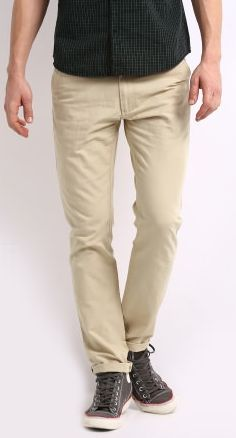 Buy Men's  Beige Chino Trousers @ Rs. 1,299. Team this pair with a combat style shirt, bomber jacket and leather trainers for a relaxed weekend brunch with friends or layer it with a blazer and shirt on a casual Friday to work.