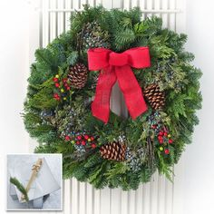 Balsam and Berry Evergreen Wreaths with Wreath Holder: Grace your home, or that of a loved one, with the fragrances of the forest! These classic evergreen wreaths are hand-crafted from cuttings of Noble Fir and Western Red Cedar and masterfully decorated with blue Juniper berries, natural pine cones, and faux red berries! This Brass Wreath Hanger is easy to take care of as well. Simply wipe it down with a paper towel before and after use. You'll love its long-lasting beauty and obvious…