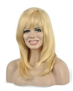 Diy-Wig Beautiful Light Gold Long Straight Oblique Bangs…