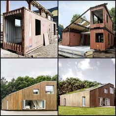 Three Containers + Imagination = Ample Space – The World Prefab Container Homes, Shipping Container Buildings, Sea Container Homes, Shipping Container Home Designs, Container House Design, Container Architecture, Architecture Design, Container Conversions, Casas Containers