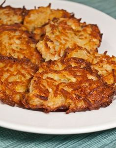 Latkes, or crisp onion-scented potato pancakes, are a traditional Jewish holiday dish. Go to any Hanukah party and you'll find an apron-clad Jewish mother or grandmother standing at the stove frying and doling them out – a tradition I loved and cherished .. My grandma made them. She was German .. Love. But with all that oil I don't make them for my kids... Am I mean?