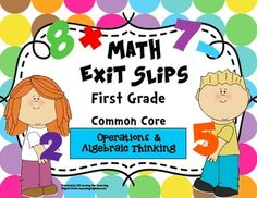 This pack includes a total of 50 exit slips for the first grade Common Core State Standards for Operations & Algebraic Thinking. Use these quick, formative assessments to identify what students have mastered and where they may need additional support.