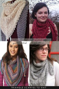 Knitting Pattern Triangle Head Scarf : 1000+ images about Free Patterns for Scarves, Cowls, Wraps and Shawls on Pint...
