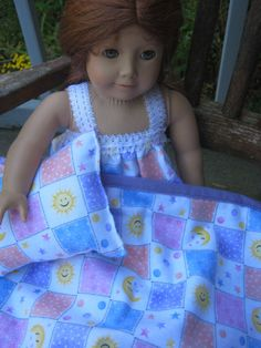 American Girl Doll Bedding, sun and moon reversible blanket and pillow for 18 inch doll
