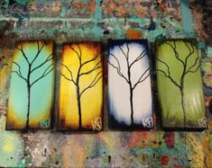 """This listing is for the Summer Tree of the Seasons of Change Series  Original Abstract Textured Tree Mixed Medium Paintings on Re-purposed wood Part of """"The Seasons of Change Series"""" By Artist Rafi Perez, Contemporary Fine art Painting Made to Order.  This painting is a commission piece, please allow up to 7 days to complete your custom piece. Contact me with any additional details concerning a time frame for your custom painting (Ive expedited orders for birthdays, anniversaries, etc... )…"""