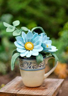 Baby Blue Felt Flower Bouquet