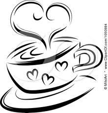 Royalty Free RF Clip Art Illustration Of A Black And White Sketched Heart Over Coffee Cup By MilsiArt