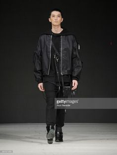 A model walks the runway wearing Blackmerle during day four of Vancouver Fashion Week Fall/Winter 2017 at Chinese Cultural Centre of Greater Vancouver on March 2017 in Vancouver, Canada. Winter 2017, Fall Winter, Cultural Center, Walks, Vancouver, Centre, Bomber Jacket, Runway, March