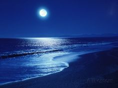 Full Moon Over the Sea Photographic Print at AllPosters.com