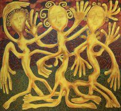 Vappu/Maarit Korhonen, 92cm x 100cm, acrylic, oil sticks, charcoal on canvas.