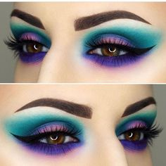 Bunte Lidschatten-Ideen Eye make up Bunte Lidschatten-Ideen Peacock Eye Makeup, Dramatic Eye Makeup, Colorful Eye Makeup, Dramatic Eyes, Blue Eye Makeup, Colorful Eyeshadow, Smokey Eye Makeup, Smoky Eye, Exotic Makeup