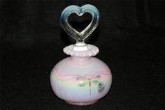 Hand Painted Signed Fenton Pink Iridescent Perfume Bottle w Dragonflies | eBay