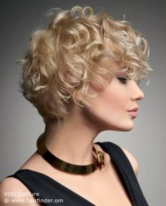 Short blonde hair style with curls.