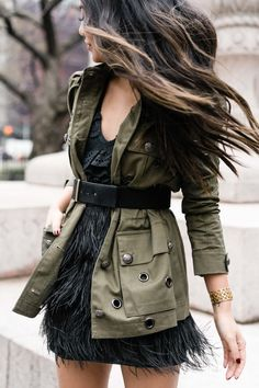 Utility Jacket with a black feather skirt. Utility Jacket Outfit, Khaki Jacket, Skirt Outfits, Cool Outfits, Casual Outfits, Look Fashion, Fashion Outfits, Womens Fashion, Fashion Tips
