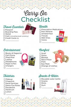 Carry on essentials checklist Travel Packing Checklist, Travel Bag Essentials, Road Trip Essentials, Travelling Tips, Cruise Packing, Flight Checklist, Packing Tips For Vacation, Packing Hacks, Cruise Checklist