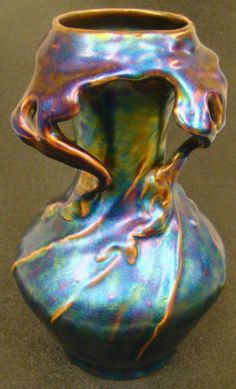 Art Nouveau Eosin Glaze Ceramic Vase 8.75 inches Tall