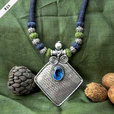 Tanzanite stone in german silver necklace