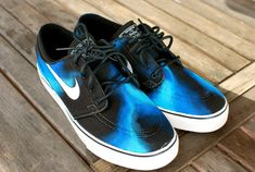 Hand painted Blue Smoke Nike Stefan Janoski Skate by BStreetShoes, $159.00