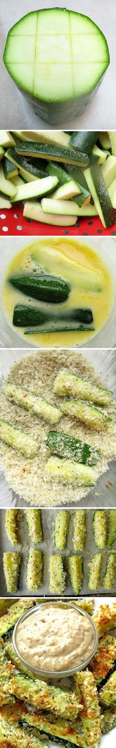 How to Cut Zucchini Sticks. Baked Zucchini Sticks green and gold yummies! Think Food, I Love Food, Good Food, Yummy Food, Tasty, Side Recipes, Vegetable Recipes, Great Recipes, Favorite Recipes