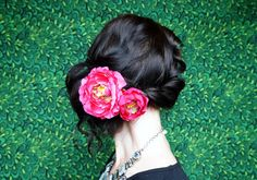 Image result for how to wear one rose behind ear with plait pinup style