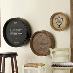 Wine Barrel Plaques... would be perfect for our dining room!