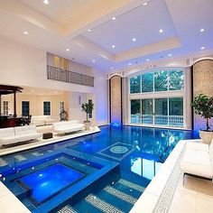 Indoor Swimming Pool Ideas - You want to build a Indoor swimming pool? Here are some Indoor Swimming Pool designs and ideas for you. Indoor Swimming Pools, Swimming Pool Designs, Indoor Jacuzzi, Lap Pools, Pools Inground, Kids Swimming, Luxury Pools, Dream Pools, Beautiful Pools