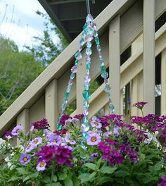 Pink blue teal hanging basket wire by statementbyemily on Etsy
