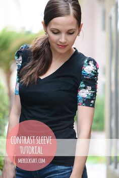 Merricks Art: Contrasting Sleeve Top (Tutorial) #sewing #fashion so cute!