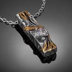 Donna Yutzy - two tone box pendant Metal Jewelry, Metal Art, Portland, Bronze, Gemstones, Pendant, Spring, Box, Creative