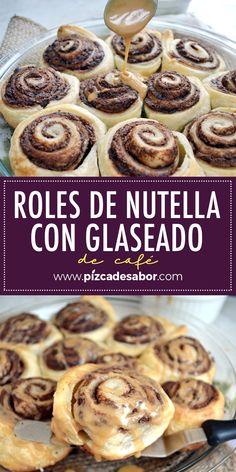 Nutella rolls with coffee glaze Nutella Rolls, Cherry Jam Recipes, Best Cinnamon Rolls, Soft Chocolate Chip Cookies, Good Food, Yummy Food, Brunch, Easy Baking Recipes, Dessert Recipes