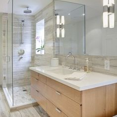 Contemporary Bathroom Features A Taupe Veneer Floating