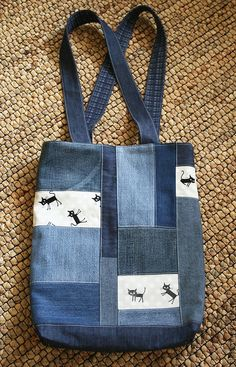 Link goes to bag for purchase. Good idea - combine rectangles of denim with other fabric.