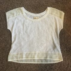 Hollister short-sleeve top Thin white sweater with cream sequin trim. Worn once. Size M Hollister Sweaters Crew & Scoop Necks